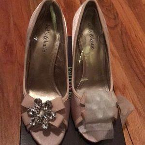 Blush satin rhinestone brooch heels